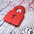 Protection concept: Closed Padlock on Circuit Board background — Stock Photo #37395353