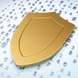Protection concept: Golden Shield on digital background — Stock Photo