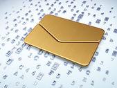 Conceito de Finanças: e-mail dourado sobre fundo digital — Fotografia Stock