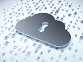 Cloud technology concept: Silver Cloud With Keyhole on digital background — Stock Photo