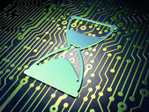 Timeline concept: Hourglass on circuit board background — Stockfoto