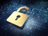 Data concept: Golden Opened Padlock on digital background — Foto de Stock