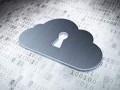 Cloud computing concept: Silver Cloud With Keyhole on digital background — Stock Photo