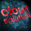 Cloud networking concept: Cloud Solutions on digital background — 图库照片