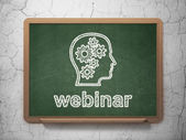 Education concept: Head With Gears and Webinar on chalkboard background — Stockfoto