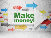 Finance concept: arrow with Make Money! on grunge wall background — Foto de Stock