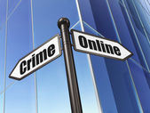 Protection concept: sign Online Crime on Building background — Zdjęcie stockowe