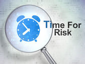 Time concept: Alarm Clock and Time For Risk with optical glass — Stock Photo