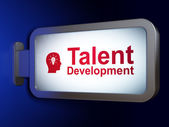 Education concept: Talent Development and Head With Light Bulb on billboard background — Stock Photo