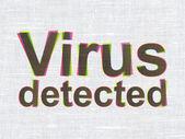 Güvenlik kavramı: kumaş dokusu arka plan üzerinde tespit virüs — Stok fotoğraf