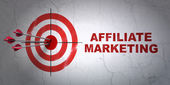 Finance concept: target and Affiliate Marketing on wall background — Stock Photo