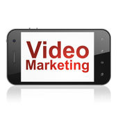 Finance concept: Video Marketing on smartphone — Foto de Stock