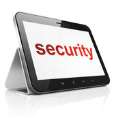 Protection concept: Security on tablet pc computer — Stok fotoğraf