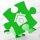 Unser Geschäftskonzept: Startseite auf Puzzle-Hintergrund — Stockfoto