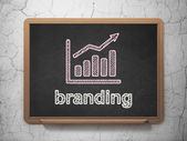 Marketing concept: Growth Graph and Branding on chalkboard background — Stock Photo