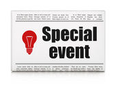 Finance concept: newspaper with Special Event and Light Bulb — Foto de Stock
