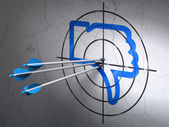 Social media concept: arrows in Thumb Down target on wall background — Stockfoto