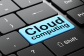 Cloud technology concept: Cloud Computing on computer keyboard background — Stock Photo