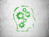понятие финансов: голова с gears на фоне стены — Стоковое фото