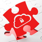 Cloud computing concept: Cloud With Padlock on puzzle background — Foto de Stock