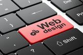 Conceito de Web design: web design sobre fundo de teclado de computador e engrenagens — Fotografia Stock