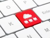 Chmura koncepcji sieci: sieci chmury na tle klawiatury komputera — Zdjęcie stockowe