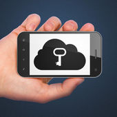 Cloud networking concept: Cloud With Key on smartphone — Stok fotoğraf