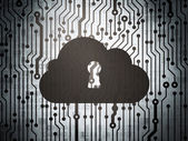 Cloud technology concept: circuit board with Cloud With Keyhole — Stockfoto
