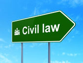 Law concept: Civil Law and Business Team on road sign background — Stock Photo