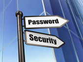 Privacy concept: sign Password Security on Building background — Foto Stock