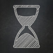 Time concept: Hourglass on chalkboard background — Stockfoto
