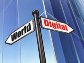 Information concept: sign Digital World on Building background — 图库照片