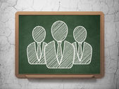 Business concept: Business People on chalkboard background — 图库照片