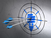 Business concept: arrows in Energy Saving Lamp target on wall background — Foto de Stock