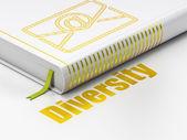 Podnikatelský koncept: knihy e-mail, rozmanitost na bílém pozadí — Stock fotografie