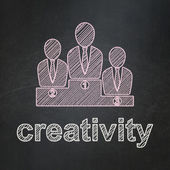 Marketing concept: Business Team and Creativity on chalkboard background — Stock fotografie