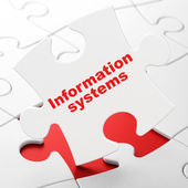 Information concept: Information Systems on puzzle background — Stok fotoğraf