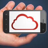 Cloud computing concept: Cloud on smartphone — Stock Photo