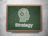 Business concept: Head With Gears and Strategy on chalkboard background — Foto Stock
