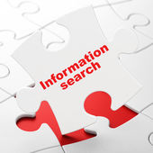 Data concept: Information Search on puzzle background — Stockfoto