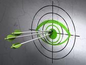 隐私权的概念: 眼睛目标上的背景墙上的箭头 — 图库照片