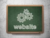 웹 디자인 컨셉: 기어 및 칠판 배경 웹사이트 — Stok fotoğraf