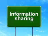 Data concept: Information Sharing on road sign background — Foto de Stock