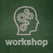 Education concept: Head With Gears and Workshop on chalkboard background — Stock Photo