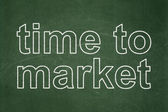 Timeline concept: Time to Market on chalkboard background — 图库照片