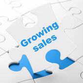 Iş kavramı: satış bulmaca arka plan üzerinde büyüyen — Stok fotoğraf