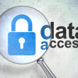 Stock Photo: Information concept: Closed Padlock and Data Access with optical glass