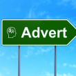 Stock Photo: Advertising concept: Advert and Head With Finance Symbol on road sign background