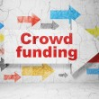 Business concept: arrow with Crowd Funding on grunge wall background — Stock Photo #38243099