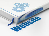Web development concept: book Gears, Website on white background — 图库照片